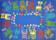 "Musical Chairs© Alphabet Classroom Rug, 5'4"" x 7'8"" Rectangle"
