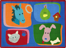 "My Favorite Animals© Kid's Play Room Rug, 3'10"" x 5'4"" Rectangle"