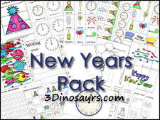 New Years Multi-Skill Printable Pack from 3 Dinosaurs!