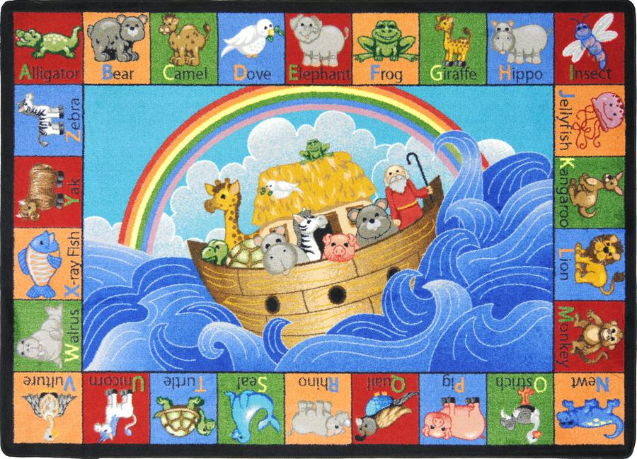 "Noah's Alphabet Animals© Classroom Circle Time Rug, 7'8"" x 10'9"" Rectangle"