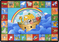 "Noah's Alphabet Animals© Classroom Circle Time Rug, 7'8"" x 10'9""  Oval"