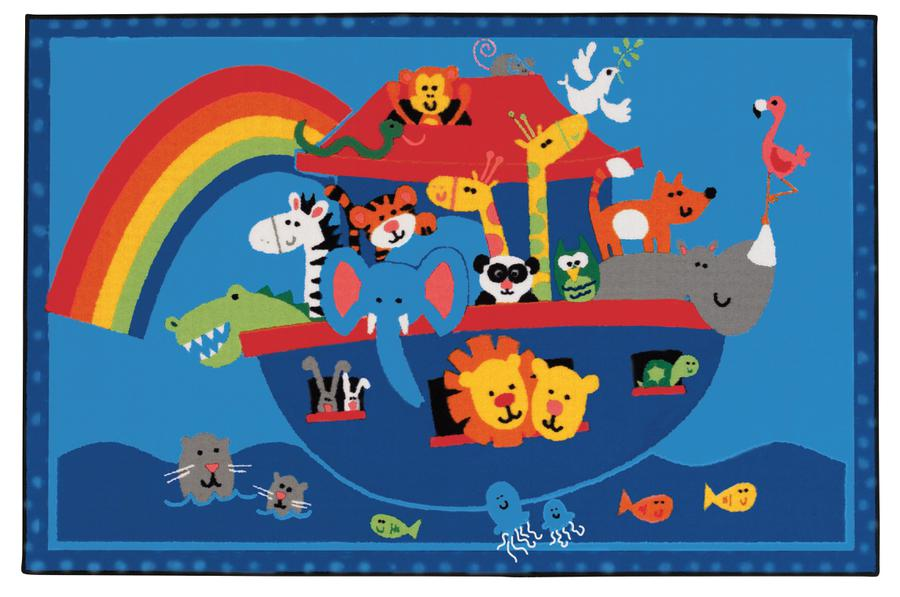 "Noah's Animals KID$ Value Discount Rug, 3' x 4'6"" Rectangle"