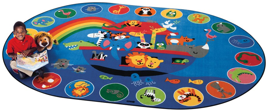 Noah's Voyage KID$ Value PLUS Discount Circle Time Rug, 8' x 12' Oval