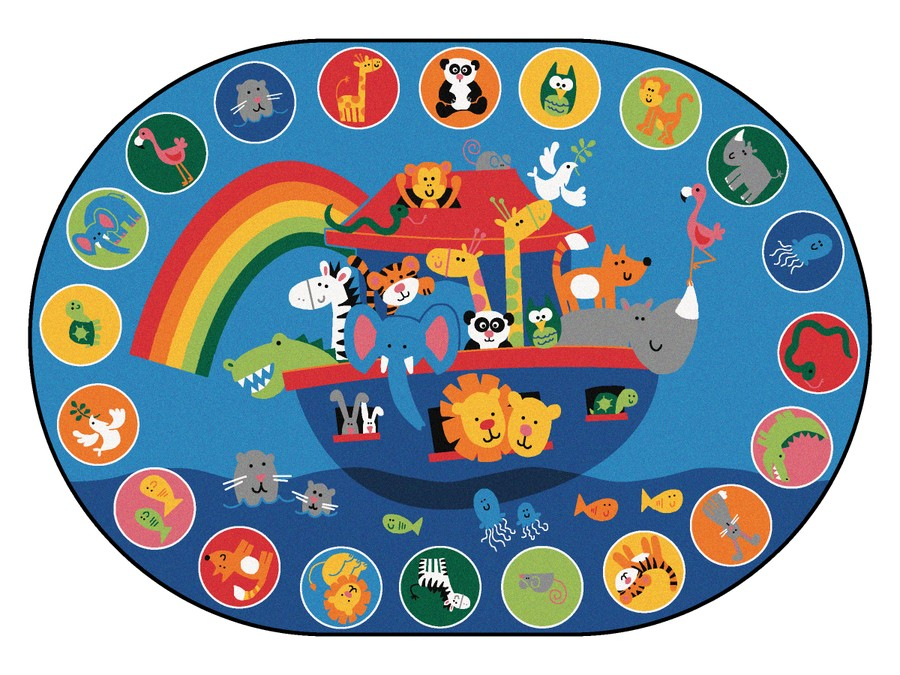 Noah's Voyage KID$ Value PLUS Discount Circle Time Rug, 6' x 9' Oval