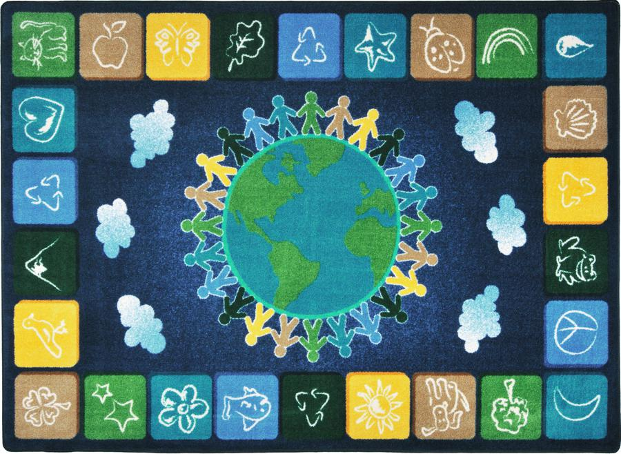 "One World© Classroom Circle Time Rug, 7'8"" x 10'9"" Rectangle Neutrals"