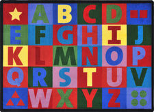 "Oversize Alphabet© Primary Classroom Rug, 5'4"" x 7'8"" Rectangle"