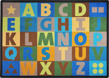 "Oversize Alphabet© Earthtone Classroom Rug, 5'4"" x 7'8"" Rectangle"