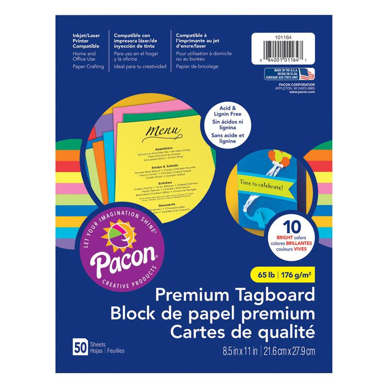 "Premium Tagboard Bright Color Assortment, 8.5"" x 11"" (50 Sheets)"