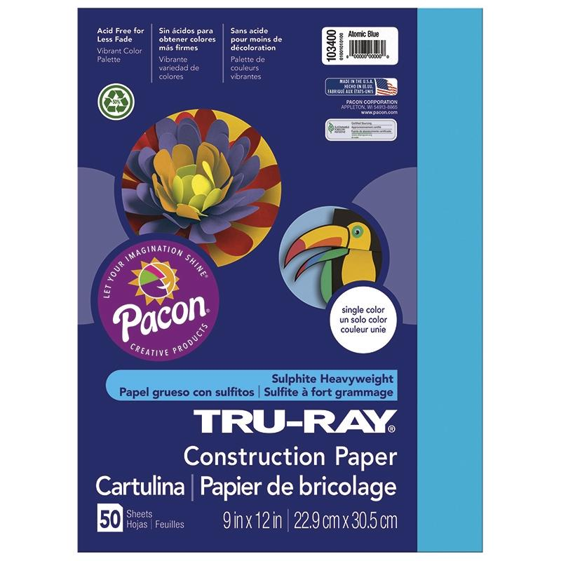"Tru-Ray® Construction Paper, 9"" x 12"" Atomic Blue"