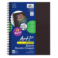 "Art1st® Create Your Own Cover Sketch Diary, 8.5"" x 11"" (50 Sheets, Black Cover)"
