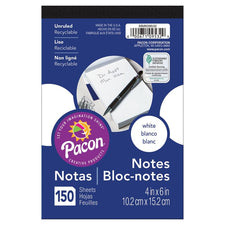 "Pacon® White Note Pad, 4"" x 6"" (150 Sheets)"