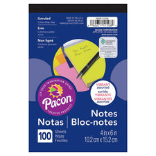"Pacon® Note Pad, 4"" x 6"" Assorted Fluorescent Colors (100 Sheets)"