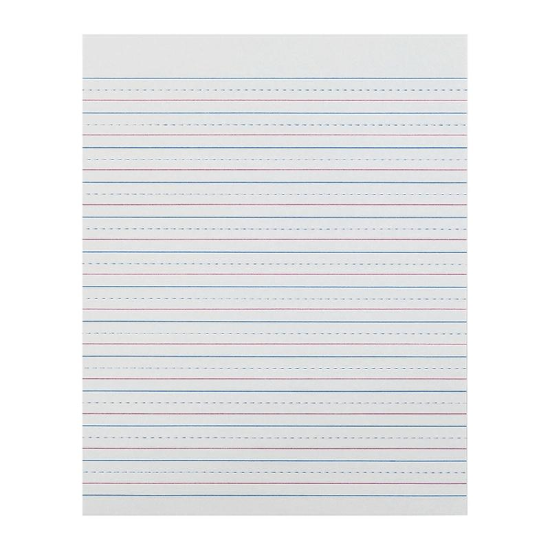 "Pacon Zaner-Bloser™ Broken Midline Sulphite Paper, 1/2"" Ruled Short Way, Grade 3"