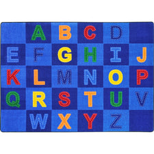 "Patchwork Letters™ Classroom Circle Time & Seating Rug, 7'8"" x 10'9"" Rectangle"
