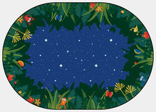 Peaceful Tropical Night Classroom Rug, 6' x 9' Oval