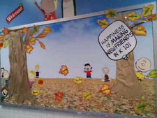 """Happiness is Making New Friends"" Peanuts-Themed Bulletin Board Idea"