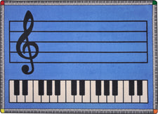 "Play Along© Classroom Rug, 7'8"" x 10'9"" Rectangle Blue w/ keys"
