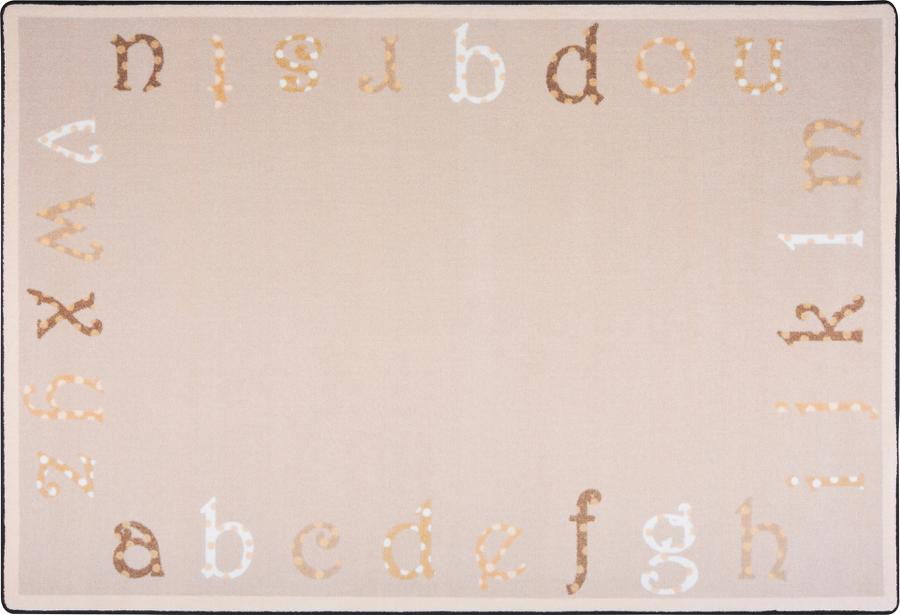 "Polka Dot ABC's© Classroom Rug, 5'4"" x 7'8"" Rectangle Beige"