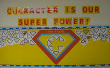 Character is Our Super Power! - Character Week & Halloween Bulletin Board