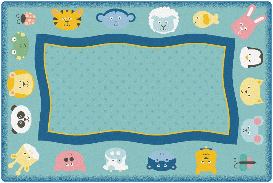 KIDSoft™ Quiet Time Animal Classroom Rug, 6' x 9' Rectangle