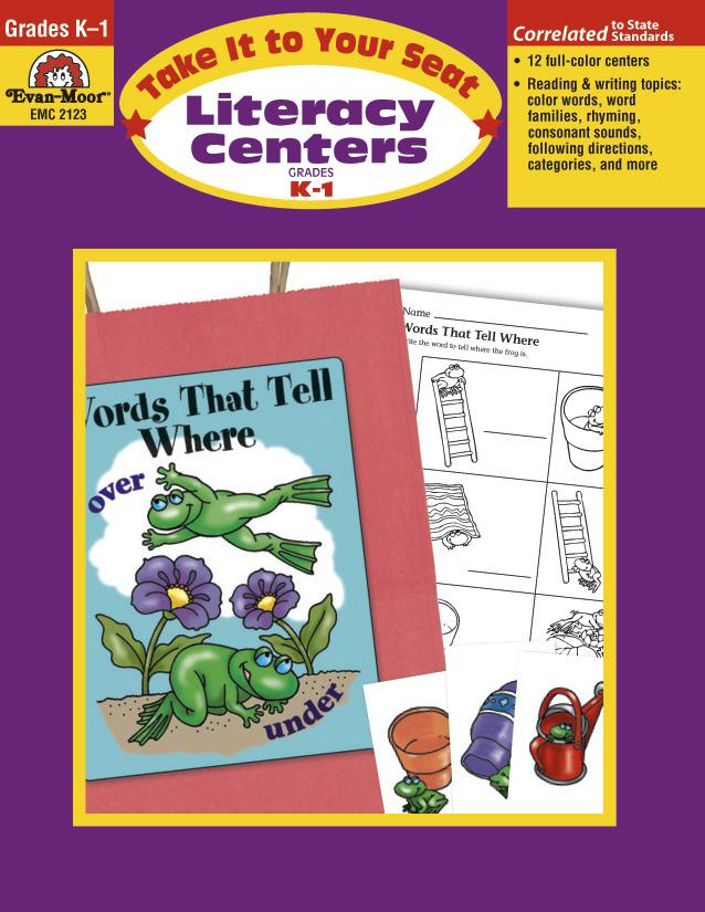 Evan-Moor Take It to Your Seat Literacy Centers Activity Book, Grades K-1