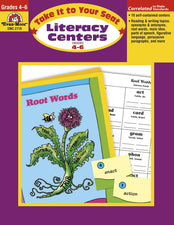Evan-Moor Take It to Your Seat Literacy Centers Activity Book, Grades 4-6