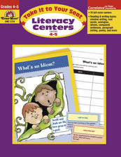 Evan-Moor Take It to Your Seat Literacy Centers Activity Book, Grades 4-5