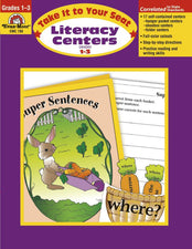 Evan-Moor Take It to Your Seat Literacy Centers Activity Book, Grades 1-3