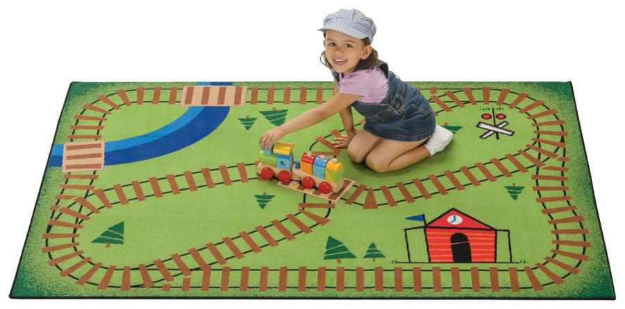 "Railroad KID$ Value Discount Playtime Rug, 3' x 4'6"" Rectangle"