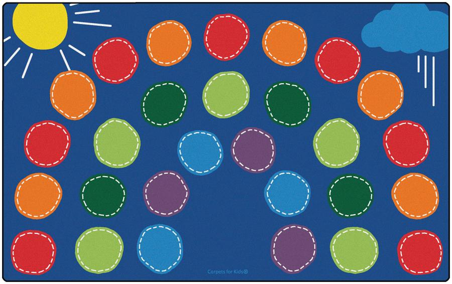 "Rainbow Classroom Circle Time & Seating Rug, 7'6"" x 12' Rectangle"