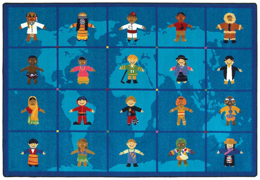 "Reach Across the World© Classroom Circle Time Rug, 7'8"" x 10'9"" Rectangle"