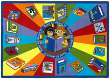"Read All About It© Classroom Circle Time Rug, 7'8"" x 10'9"" Rectangle"