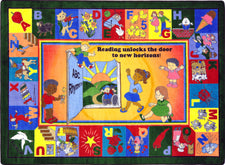 "Read & Rhyme© Classroom Circle Time Rug, 7'8"" x 10'9"" Rectangle"