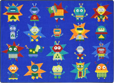 "Robot Invasion© Classroom Circle Time Rug, 7'8"" x 10'9"" Rectangle"
