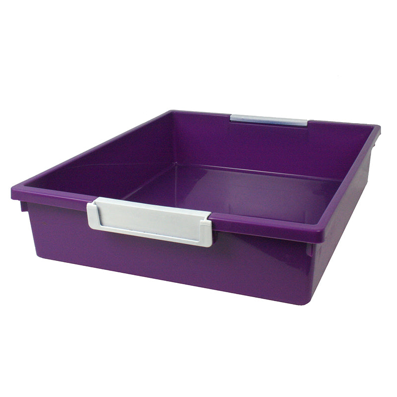 6 Quart Tattle Tray with Label Holder, Purple