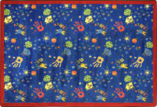 "Scribbles© Classroom Rug, 5'4"" x 7'8"" Rectangle Blue"