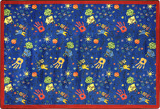 "Scribbles© Classroom Rug, 3'10"" x 5'4"" Rectangle Blue"