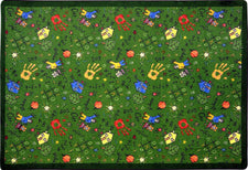 "Scribbles© Classroom Rug, 3'10"" x 5'4"" Rectangle Green"