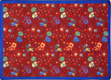 "Scribbles© Classroom Rug, 5'4"" x 7'8"" Rectangle Red"