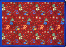 "Scribbles© Classroom Rug, 3'10"" x 5'4"" Rectangle Red"