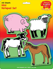 Creative Shapes Notepad Farm Animals Set Mini