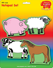 Creative Shapes Notepad Farm Animals Set Large