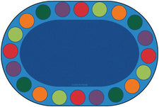 "Seating Circles Classroom Circle Time Rug, 6'9"" x 9'5"" Oval (seats 20)"