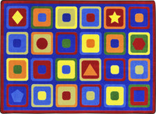 "Seeking Shapes© Classroom Circle Time Rug, 7'8"" x 10'9"" Rectangle"
