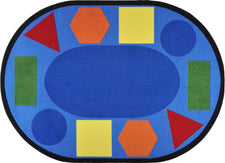 "Sitting Shapes© Primary Classroom Circle Time Rug, 7'8"" x 10'9"" Oval"