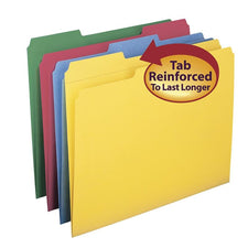 Colored File Folders with Reinforced Tab, 12 Per Package