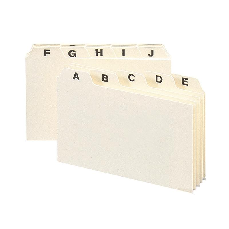 "Heavyweight Card-Sized Guides with Alphabetic Tabs, 6""W x 4""H"
