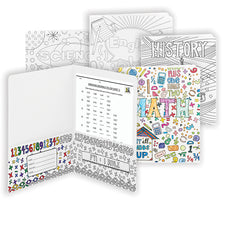 Smead Coloring Two-Pocket Folders - School Subjects, 4 Pack