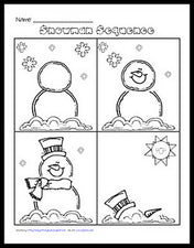 Snowman Sequencing - FREE Printable Worksheet
