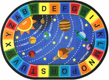 "Space Alphabet© Classroom Circle Time Rug, 7'8"" x 10'9""  Oval"